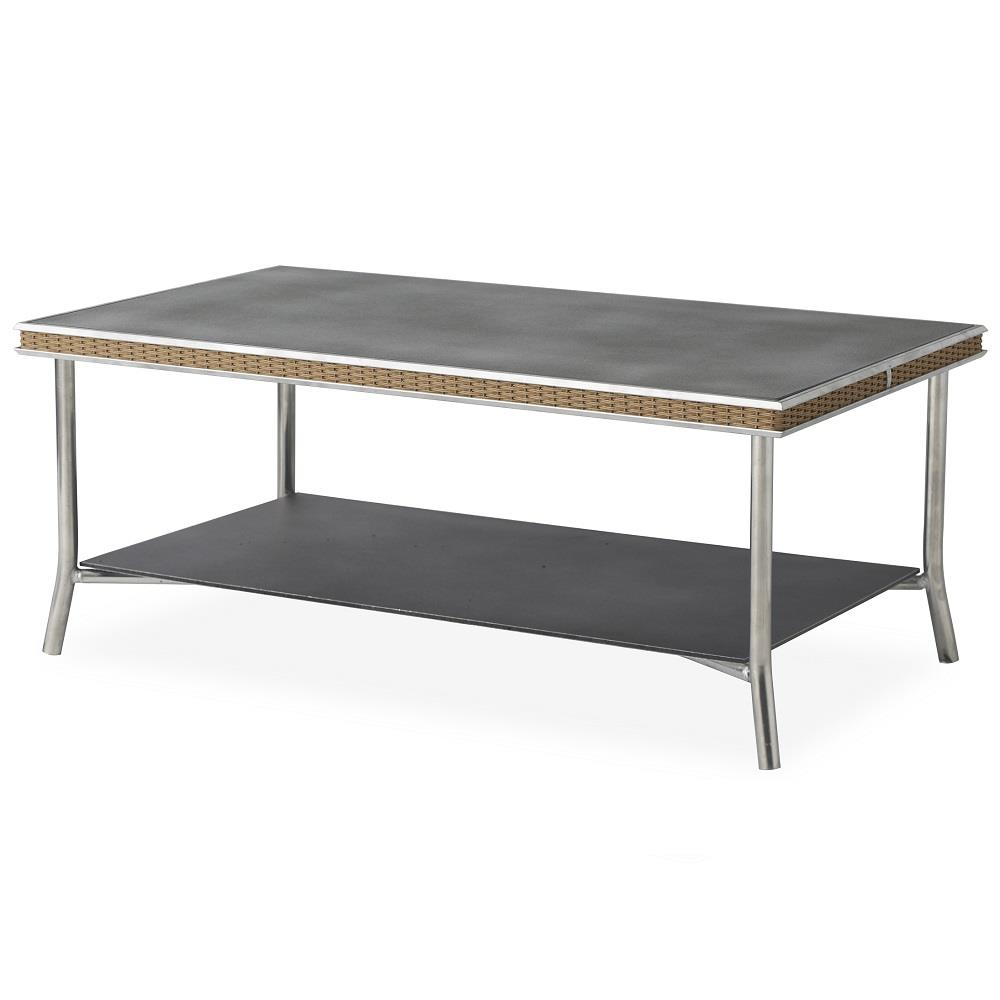 "Lloyd Flanders Visions 42"" Rectangular Cocktail Table with Charcoal Glass - 133344"