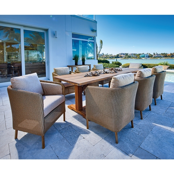 Lloyd Flanders Visions Outdoor Wicker Dining Set with Teak Live Edge Table - LF-VISIONS-SET1