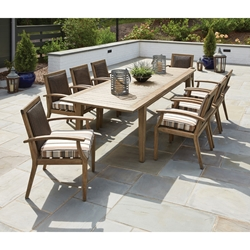 Lloyd Flanders Wildwood Outdoor Wicker and Teak Dining Set for 8 - LF-WILDWOOD-SET1