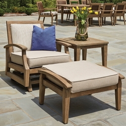 Lloyd Flanders Wildwood Teak Spring Rocker Lounge and Ottoman Set - LF-WILDWOOD-SET3