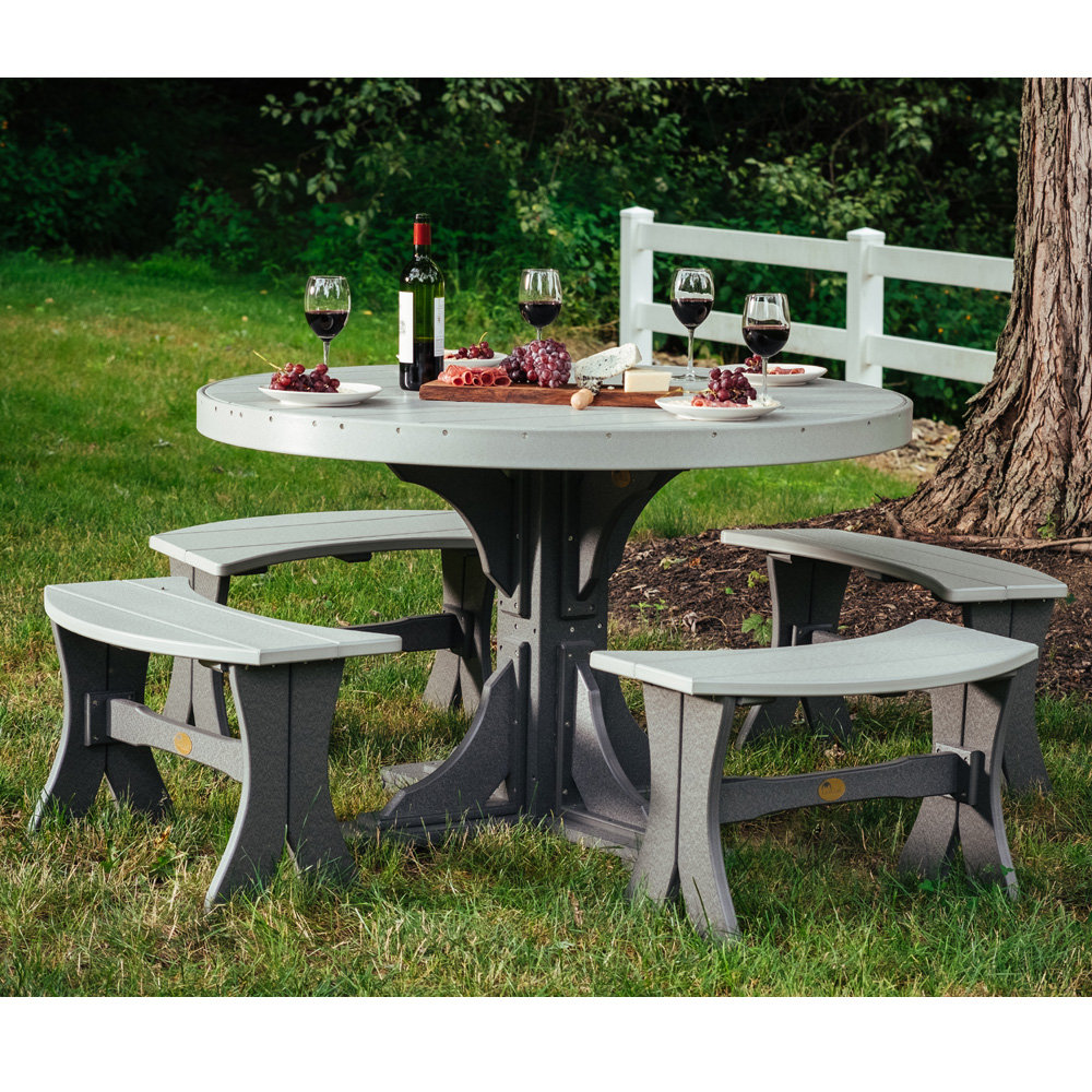Fantastic Luxcraft Classic Round Poly Patio Dining Set With Benches Pabps2019 Chair Design Images Pabps2019Com