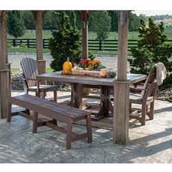 LuxCraft Classic Poly Dining Set with Benches - LC-CLASSIC-SET3