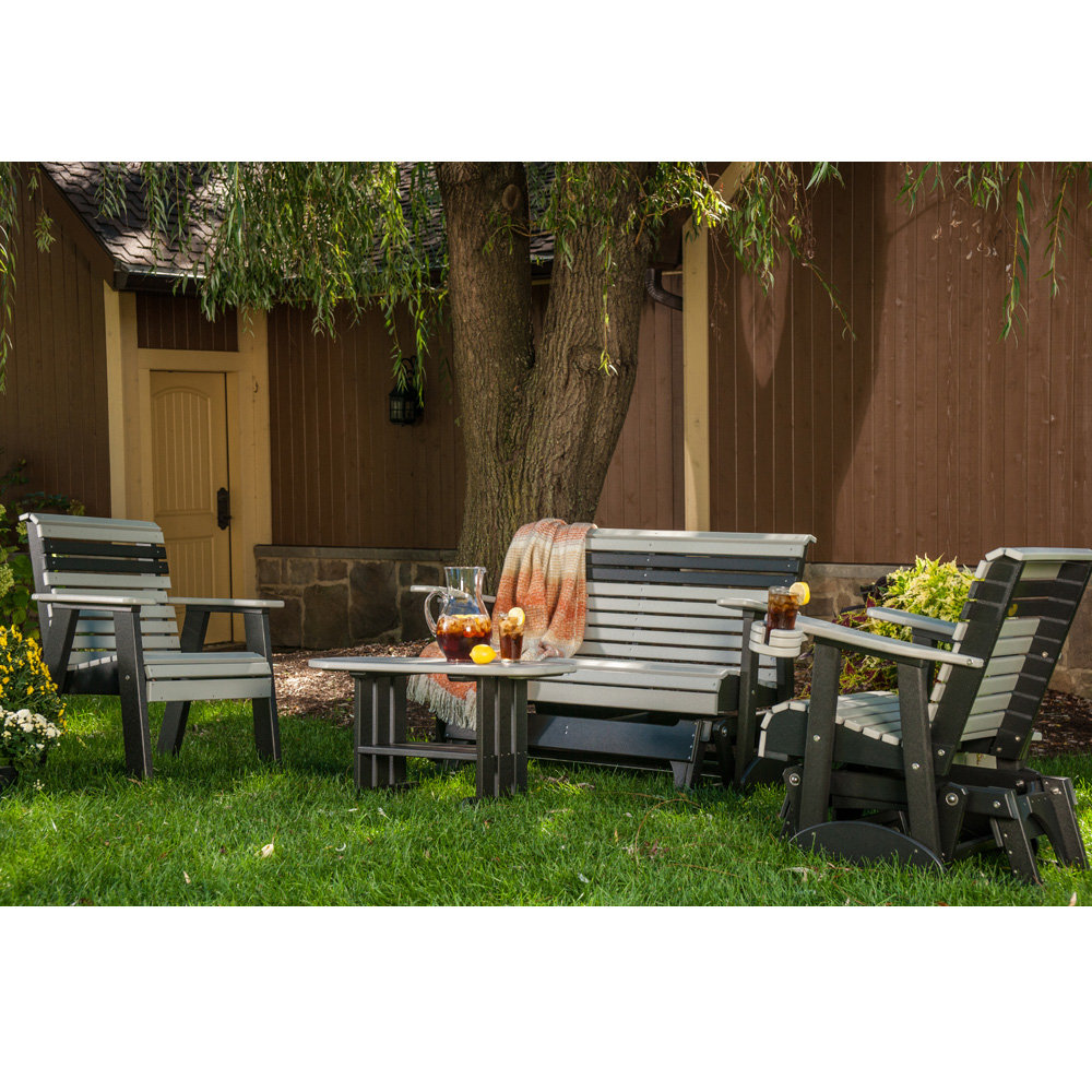 Peachy Luxcraft Plain Poly Glider And Chair Outdoor Set Machost Co Dining Chair Design Ideas Machostcouk