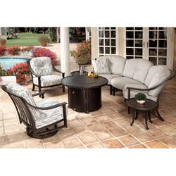 Mallin Ellington Cushion Crescent Sofa with Lounge Chairs and Fire Pit Table - ML-ELLINGTON-SET1