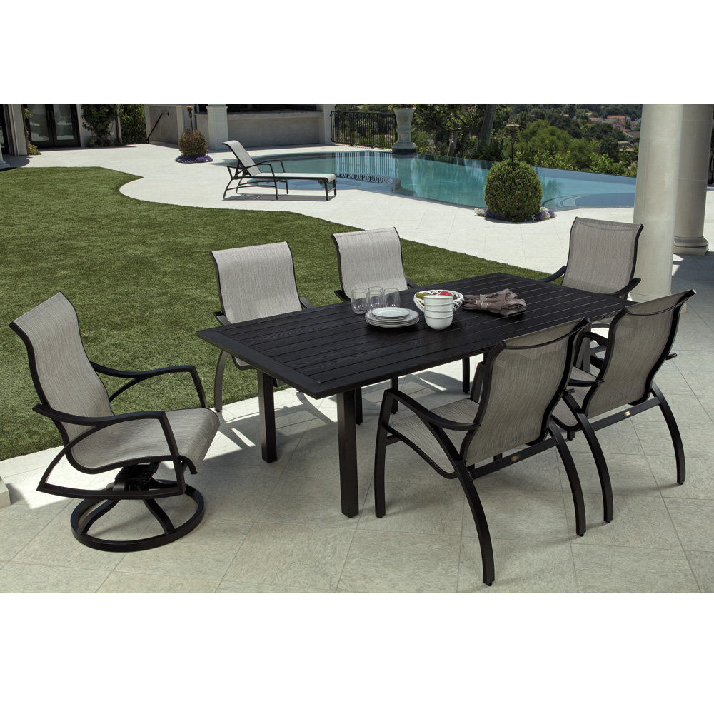 Mallin Heritage Sling Modern Patio Dining Set For 6 Ml Heritage Set2