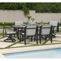 Mallin Madeira Modern Aluminum Sling Outdoor Dining Set for 6 - ML-MADEIRA-SET4