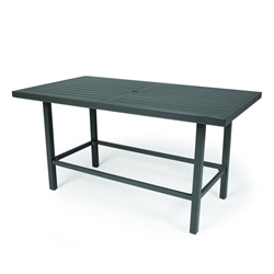 "Mallin Trinidad Slat 72"" x 40"" Counter Height Rectangular Umbrella Table - 3-D272U"