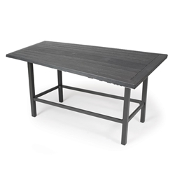 "Mallin Trinidad Woodgrain 72"" x 39"" Counter Height Rectangular Umbrella Table - BD3772-W272U"