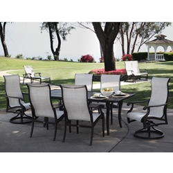 Mallin Turin Sling Outdoor Dining Set with Napa Table for 6 - ML-TURIN-SET2