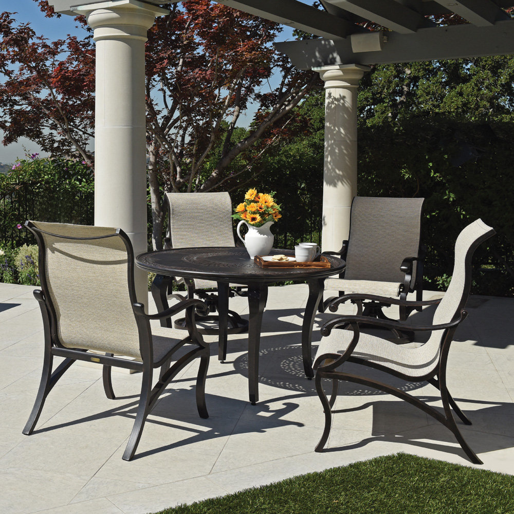 Mallin Volare Sling Traditional Patio Dining Set for 4 | ML ...