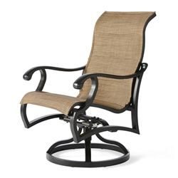 Mallin Volare Padded Sling Swivel Rocker Dining Arm Chair - VO-363