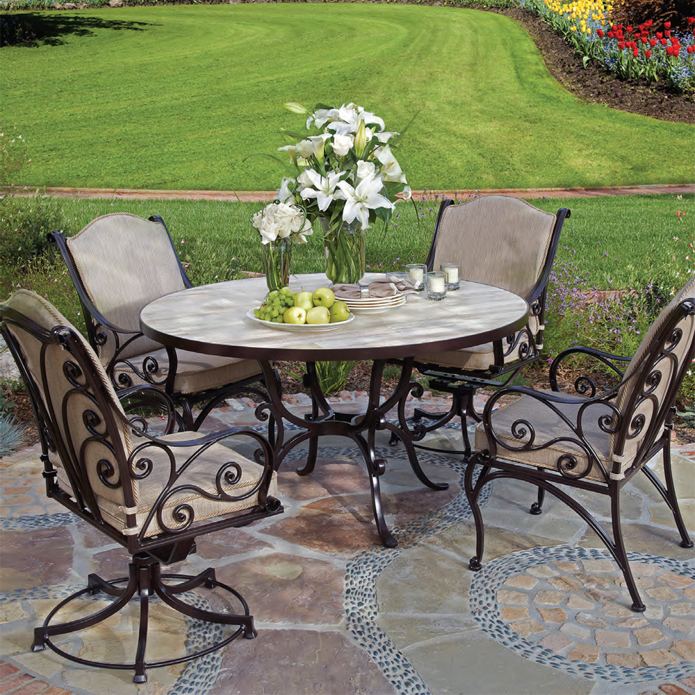 OW Lee Asbury Dining Set with Porcelain Tile Table - OW-ASHBURY-SET4