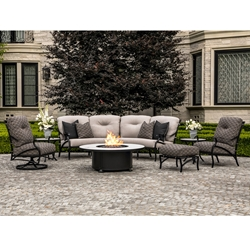 OW Lee Belle Vie Outdoor Fire Pit Set with Crescent Sectional and Lounge Chairs - OW-BELLEVIE-SET3