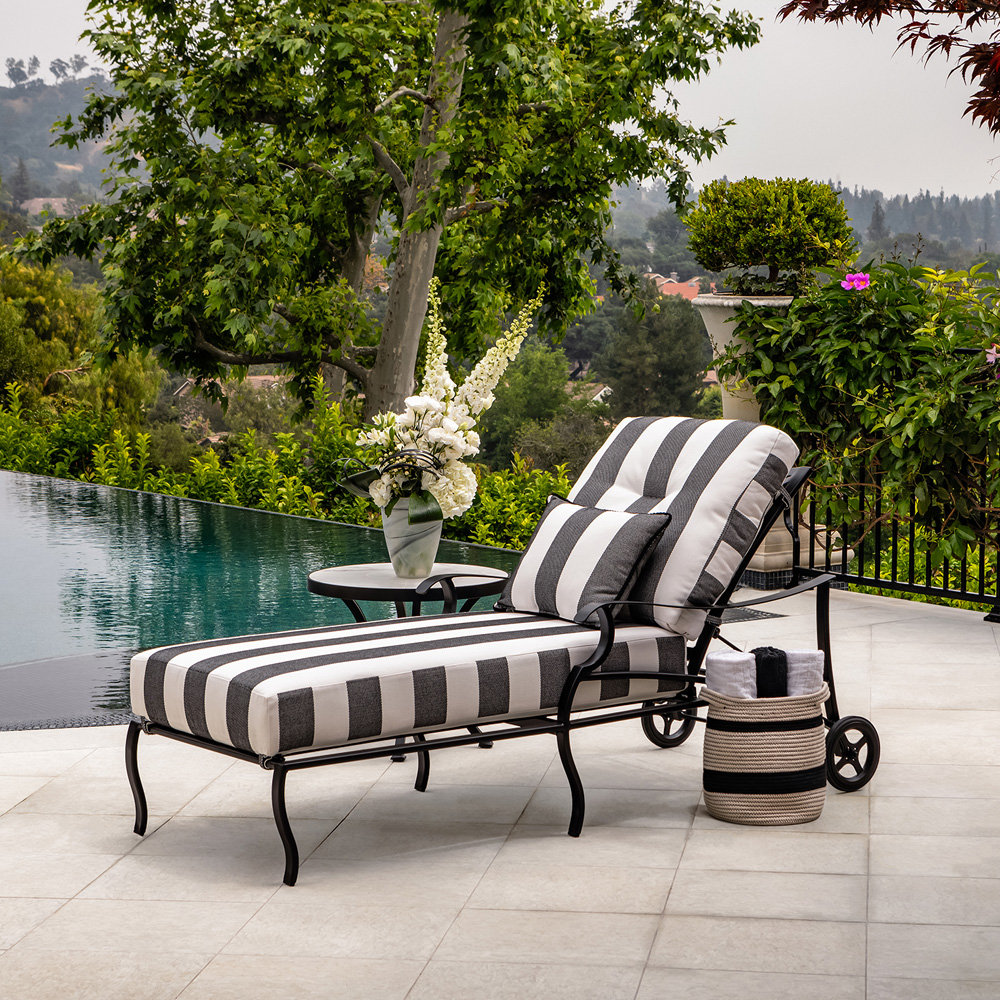 OW Lee Belle Vie Aluminum Cushion Chaise Lounge with Side Table Set - OW-BELLEVIE-SET4
