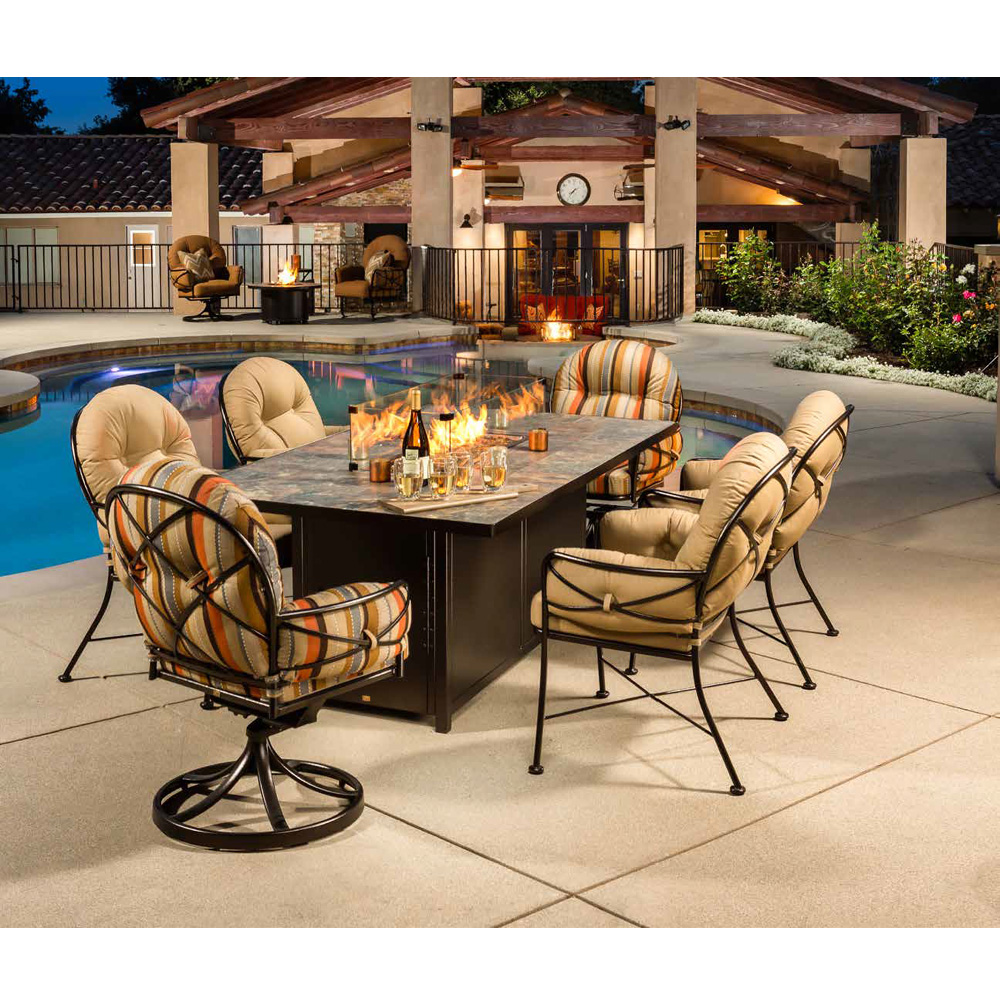 Cambria Patio Furniture.Ow Lee Cambria Wrought Iron Dining Set With Fire Pit Table Ow