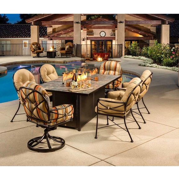 Ow Lee Cambria Wrought Iron Dining Set With Fire Pit Table