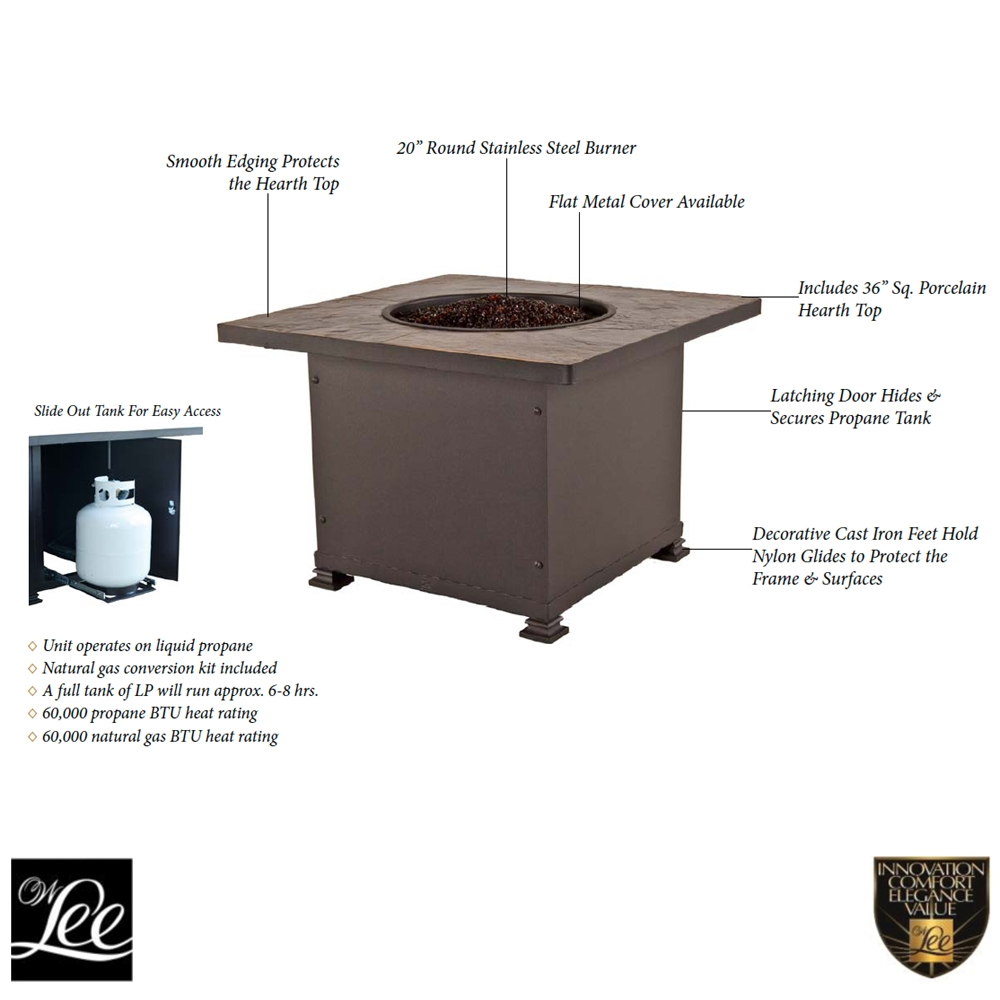 Ow Lee Santorini 36 Quot Square Chat Height Fire Pit 5110 36sqc