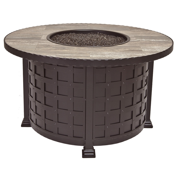OW Lee 42 Inch Round Chat Height Classico Iron Fire Pit - 51-08C