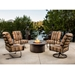 outdoor aluminum lounge fire table set