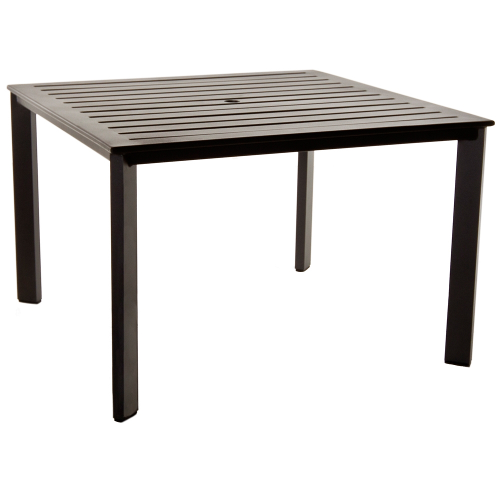 Gios Aluminum Slatted Top Square Dining Table - 45-4545DTU