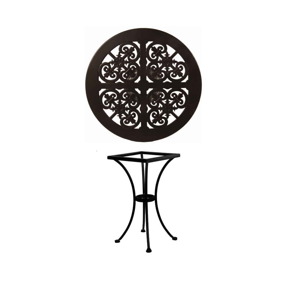 OW Lee 24 inch Round Hacienda Cast Top Bistro Table - A-24B-DT01-BASE