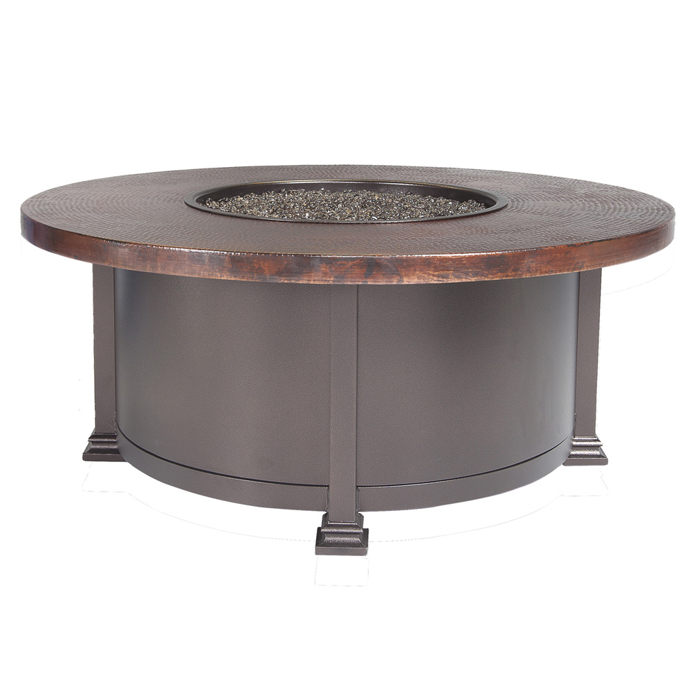 "OW Lee 42"" Round Occasional Hammered Copper Fire Table - 5130-42RDO"