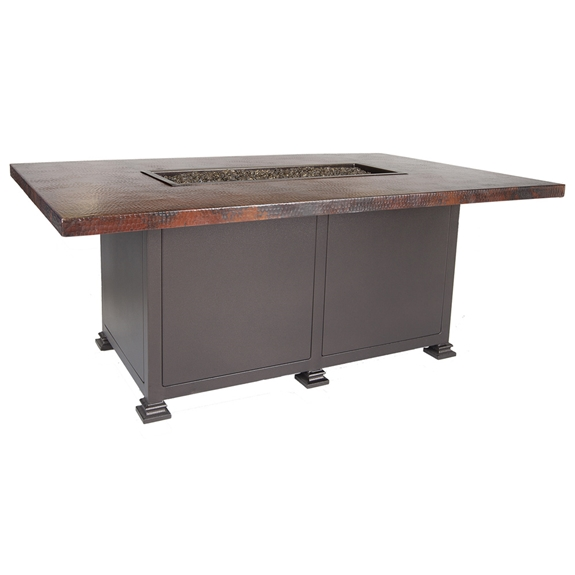 "OW Lee 36"" x 58"" Chat Hammered Copper Fire Pit Table - 5130-3658C"