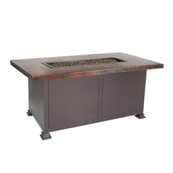 "OW Lee OW Lee 30""x50"" Chat Height Hammered Copper Fire Pit - 5130-3050C"