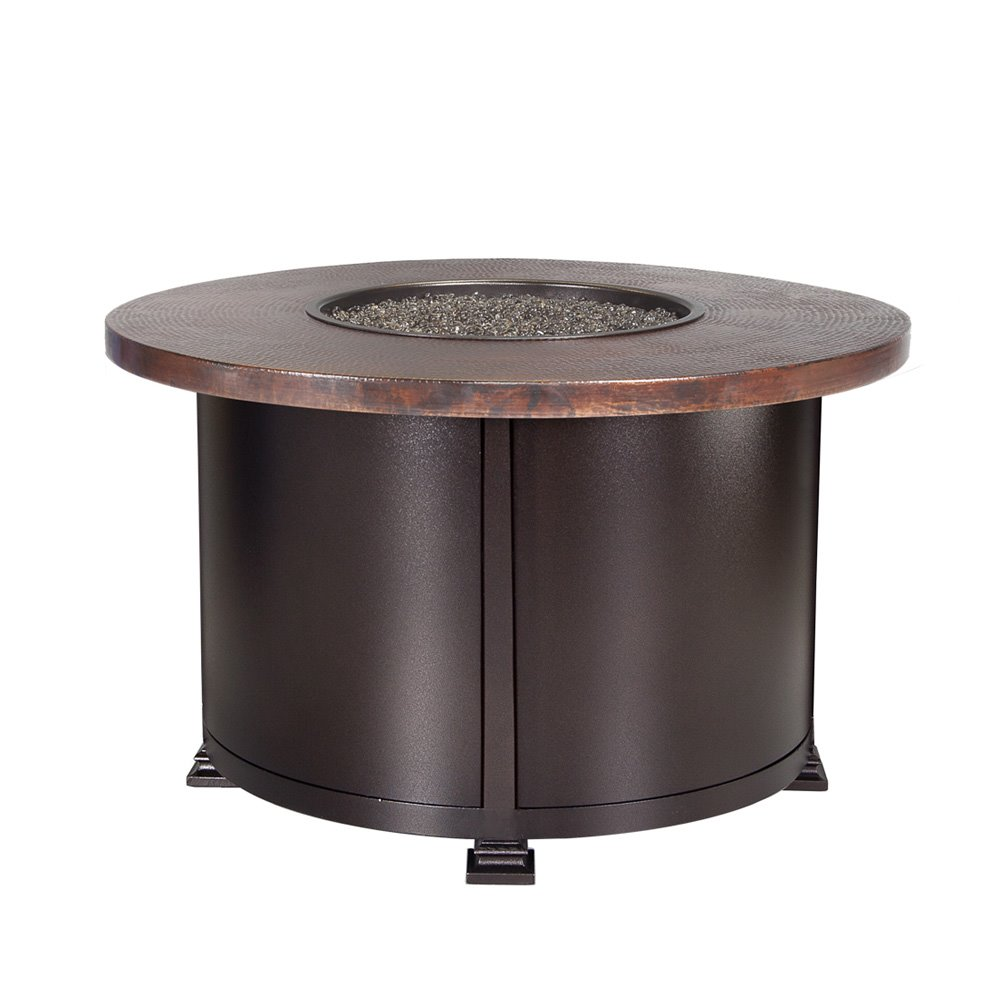 "OW Lee OW Lee 36"" Round Chat Height Hammered Copper Fire Pit - 5130-36RDC"