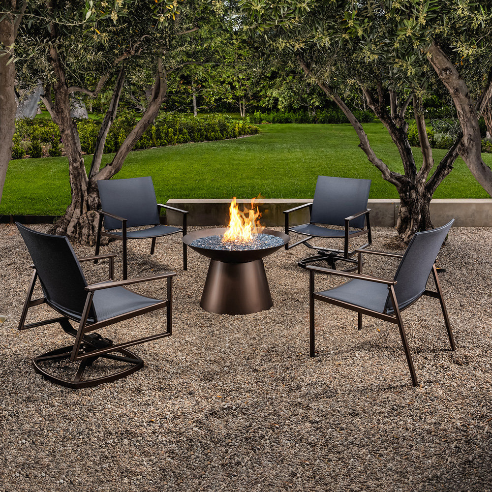 OW Lee Marin Flex Comfort Lounge Chair Set with Basso Fire Pit - OW-MARIN-SET3