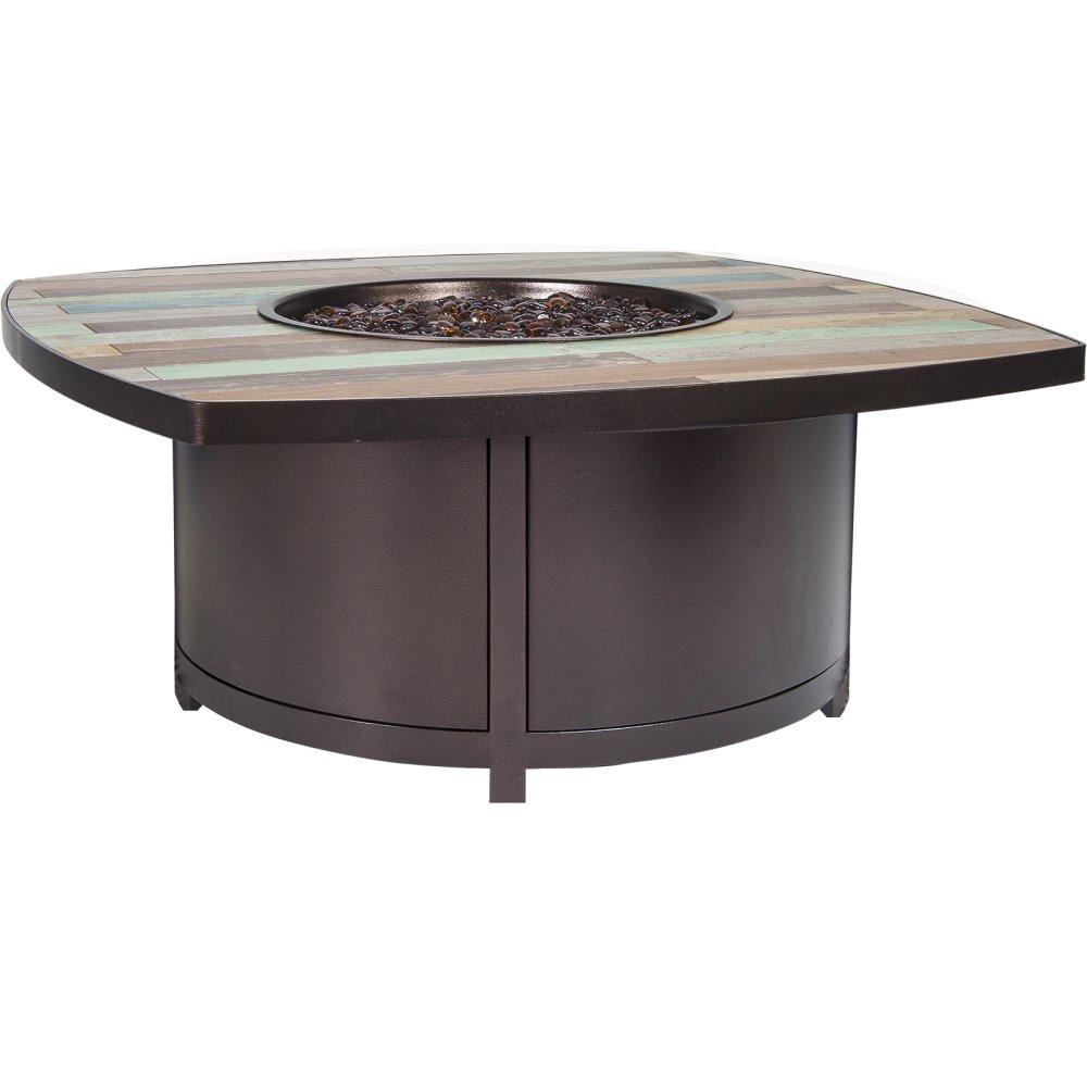 "OW Lee Newport 42"" Square Occasional Height Boat Shape Iron Fire Pit - 5114-42BTO"