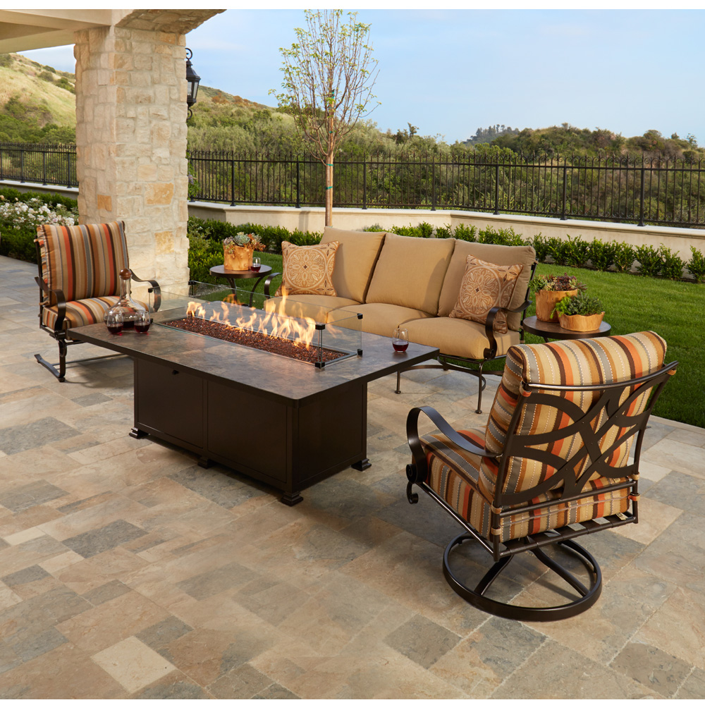 Cool Ow Lee Marquette Sofa Patio Set With Fire Table Ow Download Free Architecture Designs Viewormadebymaigaardcom