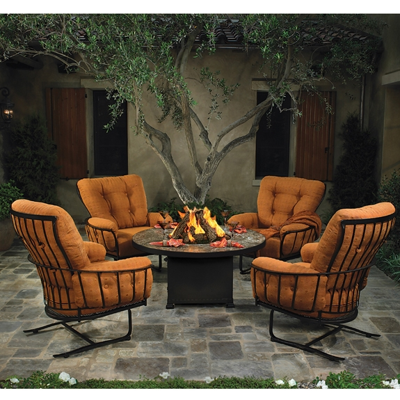 Ow Lee Monterra Spring Base Club Chair Set With Fire Pit