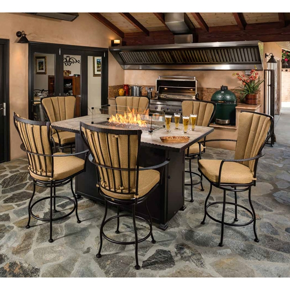 OW Lee Monterra Fire Table Set with Counter Stools