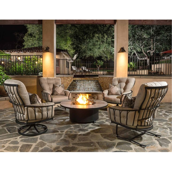 OW Lee Monterra Lounge Chair Set with Occasional Fire Pit Table