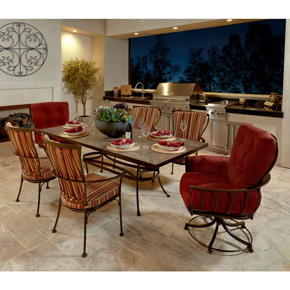 OW Lee Monterra Dining Set with Club Swivel Rockers - OW-MONTERRA-SET12