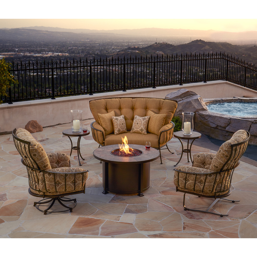 OW Lee Monterra Fire Pit Set with Crescent Sofa and Lounge Chairs - OW-MONTERRA-SET13