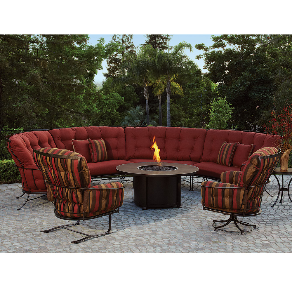 Best OW Lee Monterra Curved Outdoor Sectional Set with Fire Pit Table  RB44