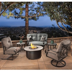 OW Lee Pasadera Crescent Love Seat with Lounge Chairs and Fire Table