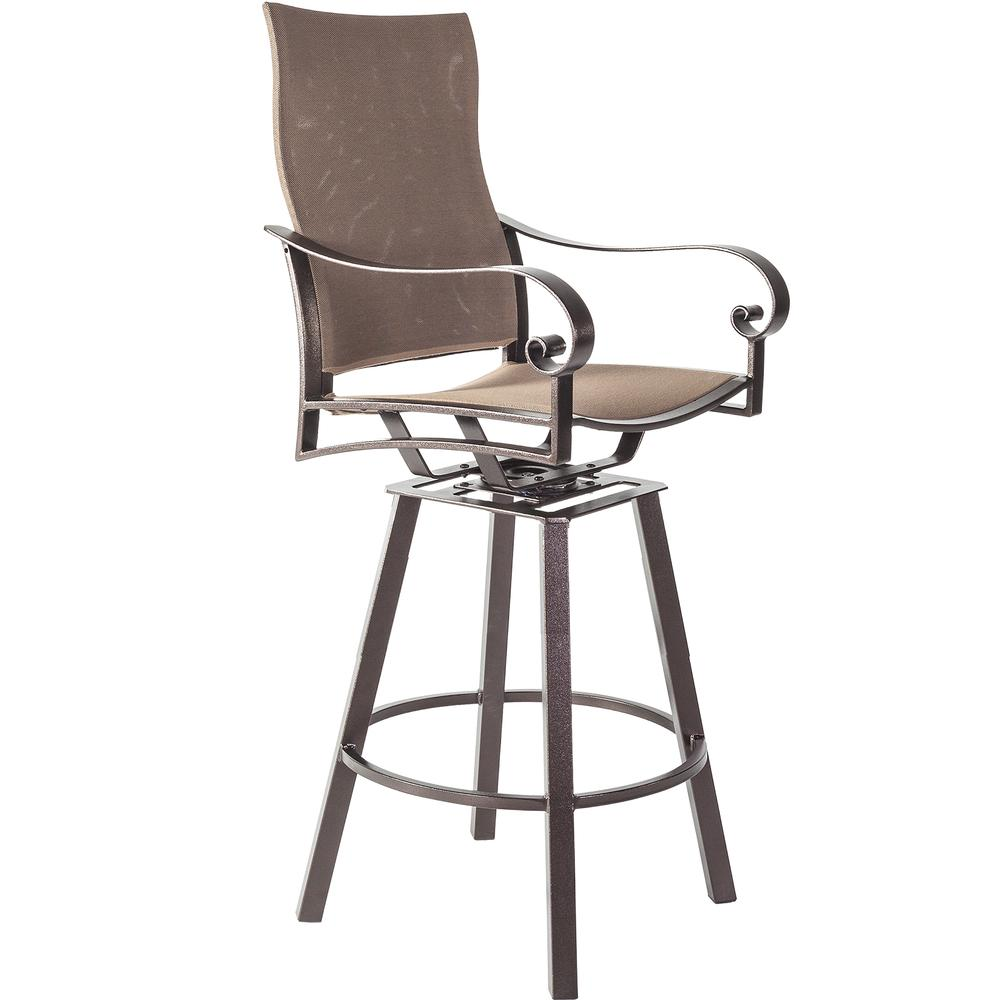 OW Lee Pasadera Sling Swivel Bar Stool with Arms - 86154-SBS