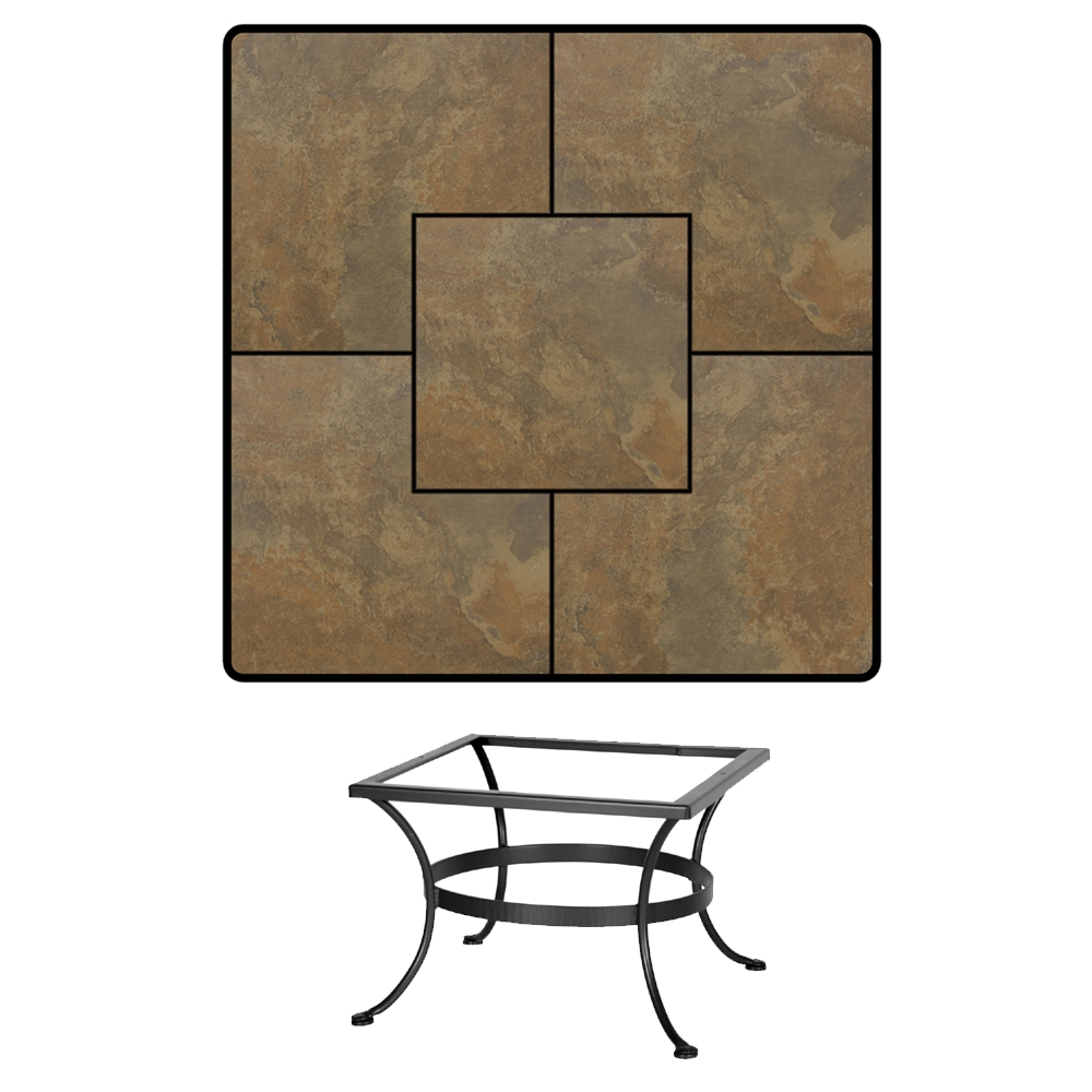 OW Lee 36 inch Square Porcelain Tile Top Chat-Height Table - P-3636SQ-LT03-BASE