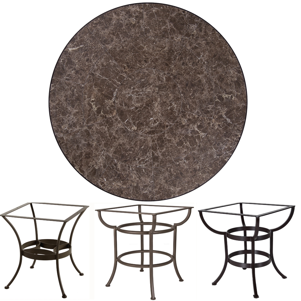 OW Lee 48 inch Round Porcelain Tile Top Dining Table - P-48-48U-DT03