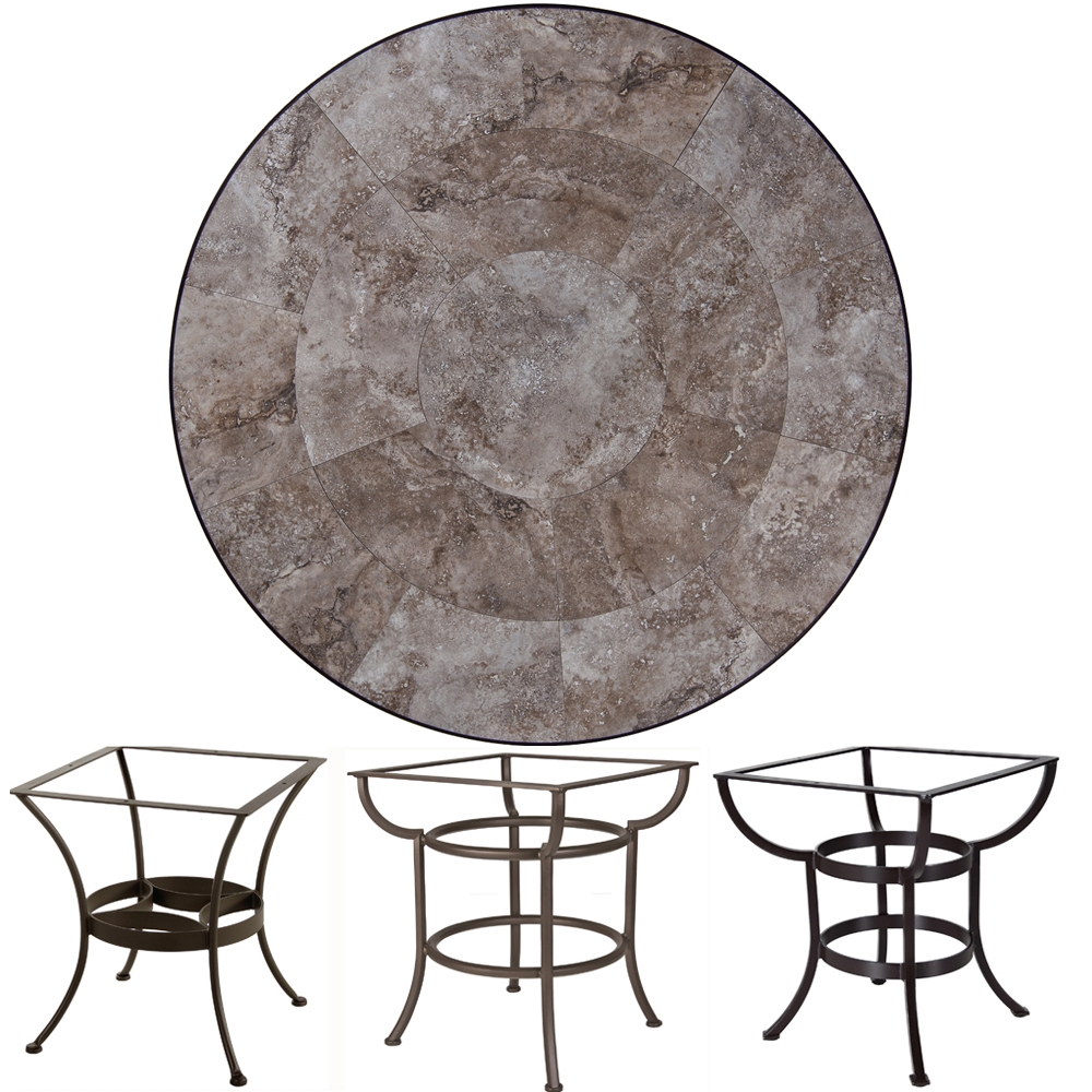 OW Lee 54 inch Round Porcelain Tile Top Dining Table - P-54-54U-DT03
