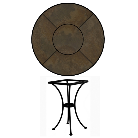 Ow Lee 24 Inch Round Porcelain Tile Top Bistro Table P24 Dt01 Base