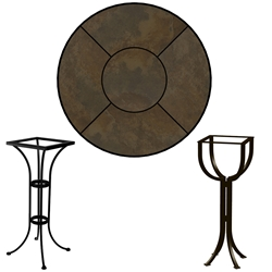 OW Lee 30 inch Round Porcelain Tile Top Bar Table - P30-XX-BT01