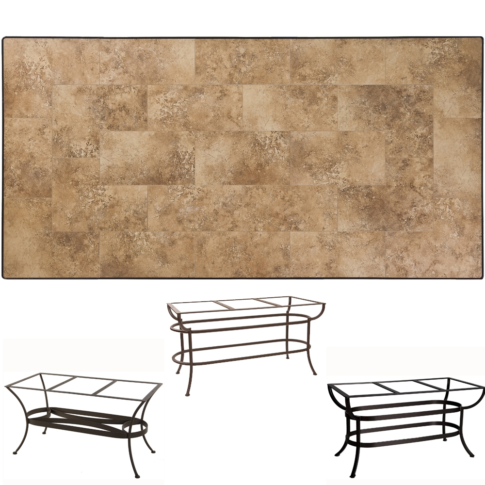 OW Lee 42 inch by 84 inch Porcelain Tile Top Dining Table - P4284-U-XX-DT07