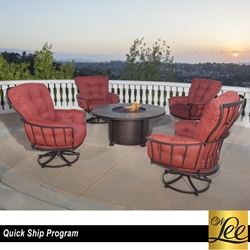 OW Lee Quick Ship Monterra Swivel Rocker and Fire Table Set - OW-QUICKSHIP-SET1