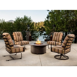 "OW Lee Ridgewood Lounge Chair Patio Set with 42"" Round Fire Table"