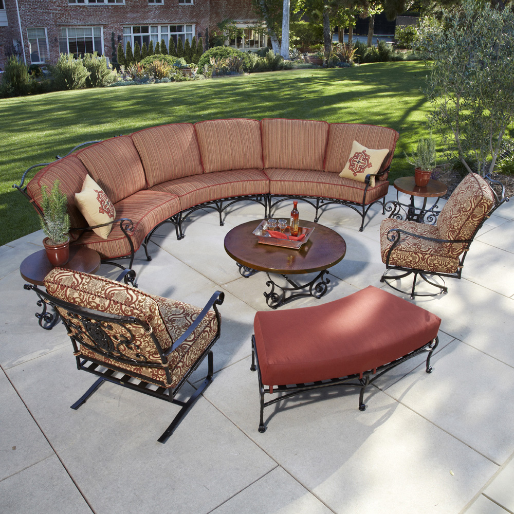 ow lee san cristobal 9 piece curved sectional set - Wrought Iron Patio Chairs