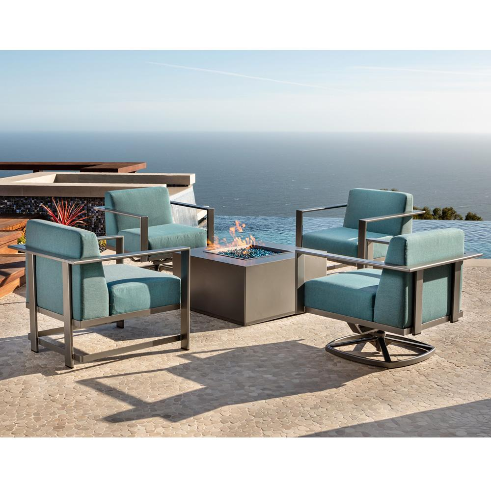 OW Lee Studio Lounge Chair Patio Set with Square Fire Table